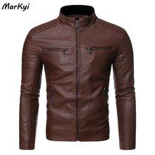 Мужская кожаная куртка с двойным карманом markyi повседневная