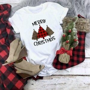 Plaid Merry Christmas T Shirt Women Fash