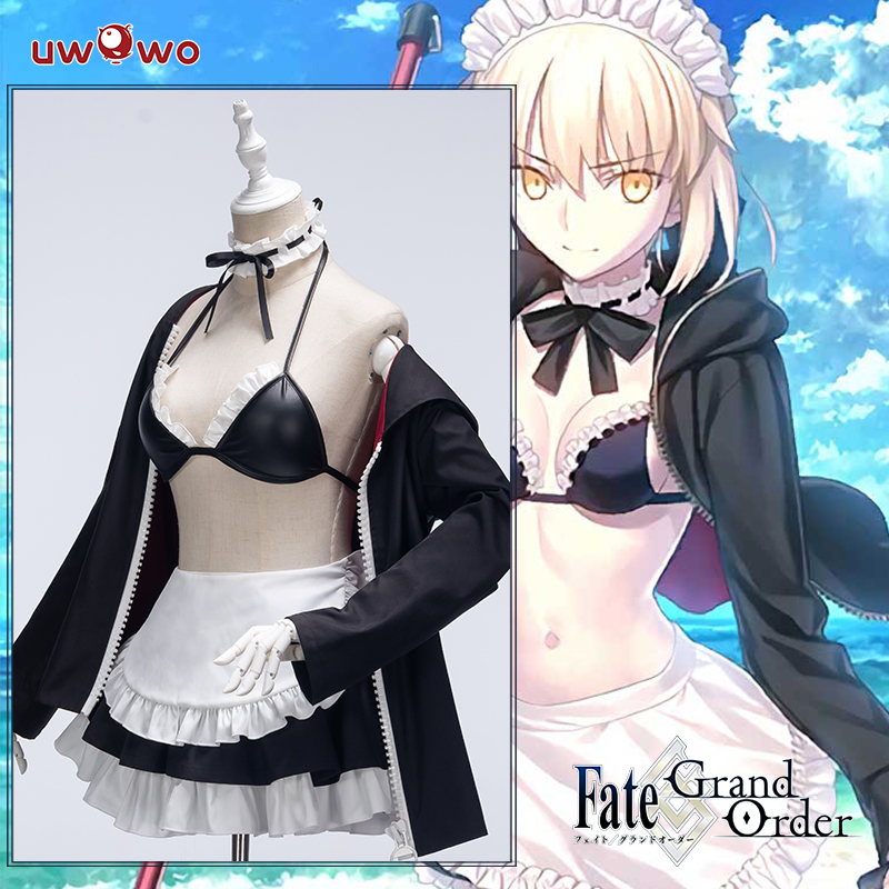 UWOWO Fate Grand Order/FGO Maid Uniform Saber Alter/Arturia Pendragon Alter Cosplay Costume Girls Cute Dress Halloween