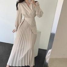 V-neck cross-magro renda cintura alta emagrecimento plissado longo joelho comprimento vestido feminino harajuku vestido coreano roupas femininas