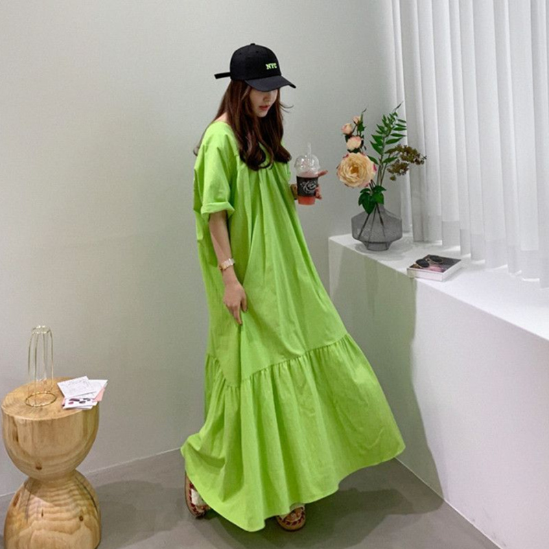 SuperAen Korean Style Long Dress Women Ruffled Short Sleeve Cotton Ladies Dress Summer Temperament New 2020 Women Clothing