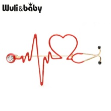 Wuli&baby Red Heart Rate Brooches Enamel Electrocardiogram Stethoscope Hospital Doctor Brooch Pins