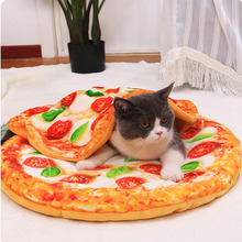 Soft Warm Flannel Thickened Pet Pizza Blanket Mat For Puppy Dog Cat Sofa Cushion Keep Warm Sleeping Cover