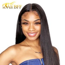 ALI BFF Straight 4x4 Lace Front Human Hair Wigs Malaysian Virgin Remy Hair For Black Women 28 Closure wig Hd Full(China)