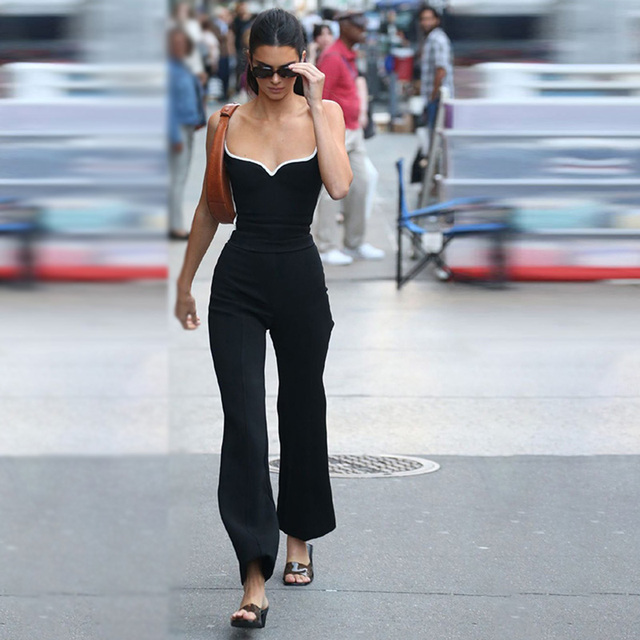 Kendall Jenner Style Women 2 Piece Set Sexy V-neck Camisole Tank Tops With Black Slim Elastic Bell-bottom Trousers Long Pants 1