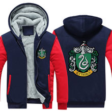 Winter Jacket Men Streetwear EU Size Plus Fleece Zip Up Hoodie Parka Casual Coat Wizardry Slytherin Cosplay Costume Sweatshirt
