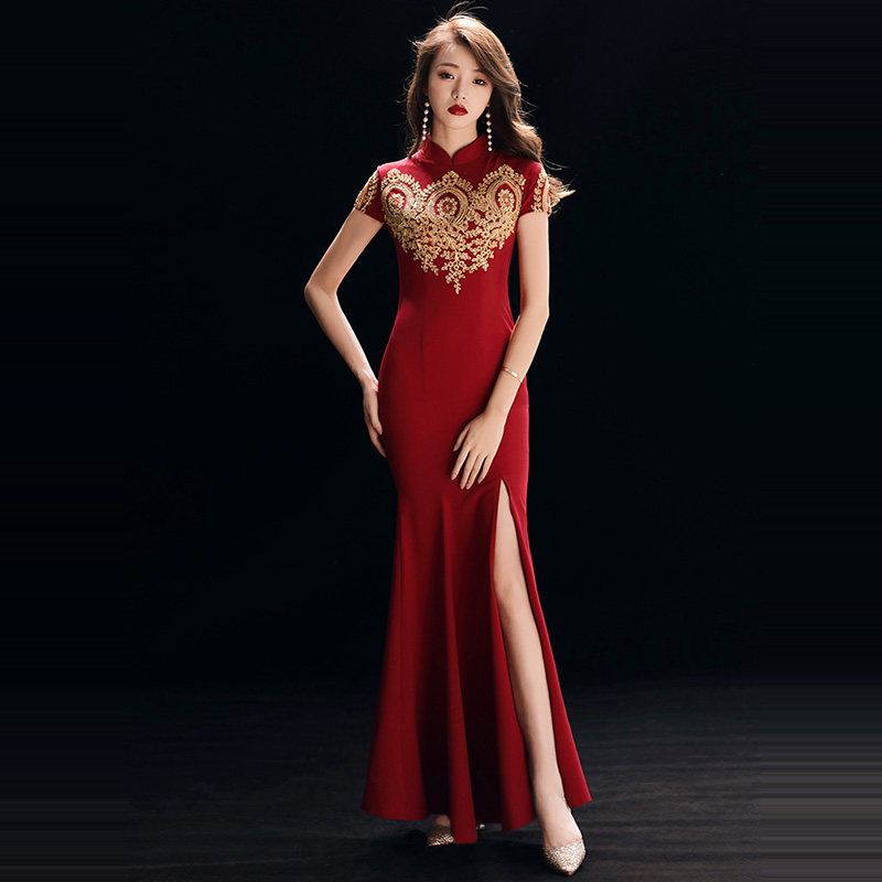 Evening     Dress   Short Sleeve Women Party   Dresses   2019 Sexy Split Sequin Robe De Soiree Solid High Collar Formal   Evening   Gowns F233