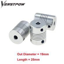 D19L25 5x8mm Aluminium CNC Motor Jaw Shaft Coupler 5mm To 8mm Flexible Coupling OD 19x25mm Dropshipping 3/4/5/6/6.35/7/8/10mm