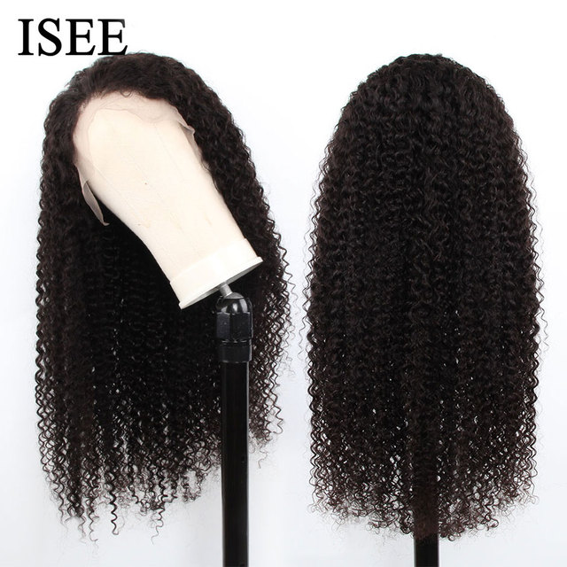 Mongolskie peruki z włosami kręconymi typu Kinky dla kobiet 150% gęstość kręcone 360 koronkowa peruka z przodu ISEE HAIR Curly peruka pełna koronkowa peruka z ludzkich włosów peruki