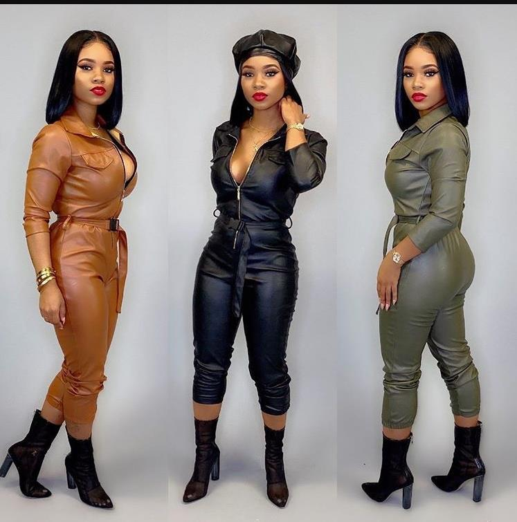 2019 Women Winter Turn Down Collar PU Leather Jumpsuit Long Sleeve Jumpsuit Bodycon Outfits Sashes Night Club Party Rompers