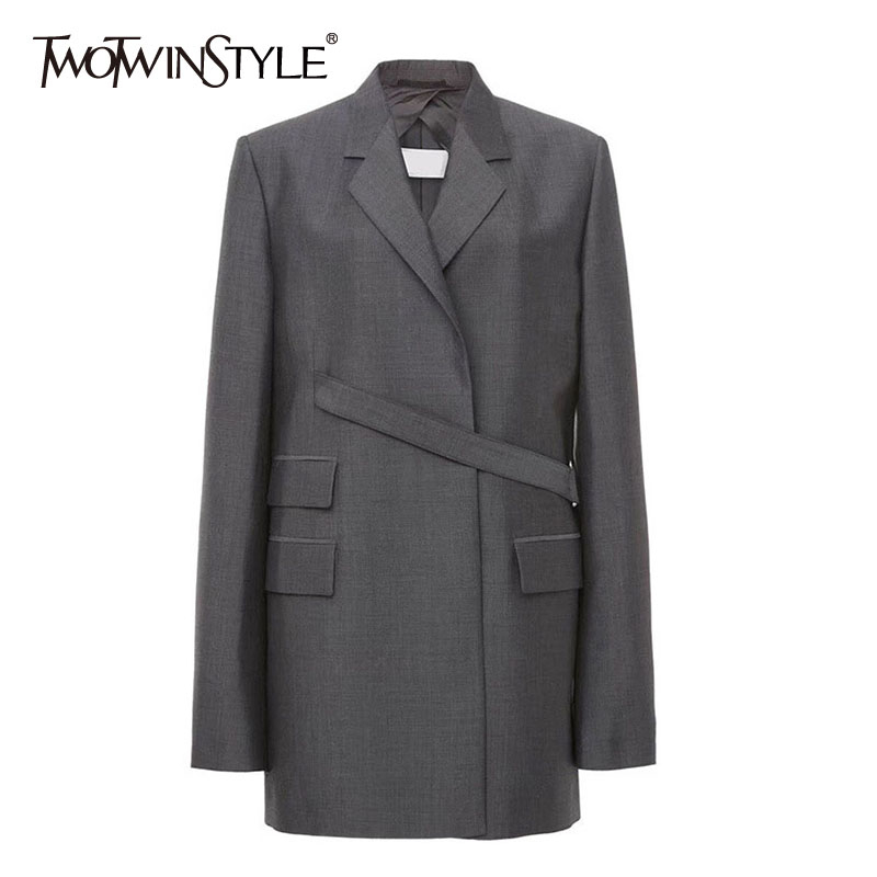 TWOTWINSTYLE Vintage Women Irregular Blazer Notched Long Sleeve Loose Patchwork Suit Female Clothing 2020 Spring Fashion Tide
