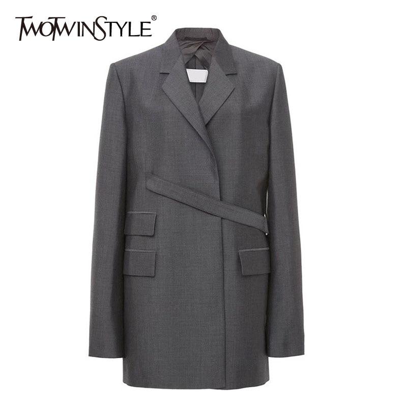 TWOTWINSTYLE Vintage Women Irregular Blazer Notched Long Sleeve Loose Patchwork Suit Female Clothing 2020 Spring Fashion Tide
