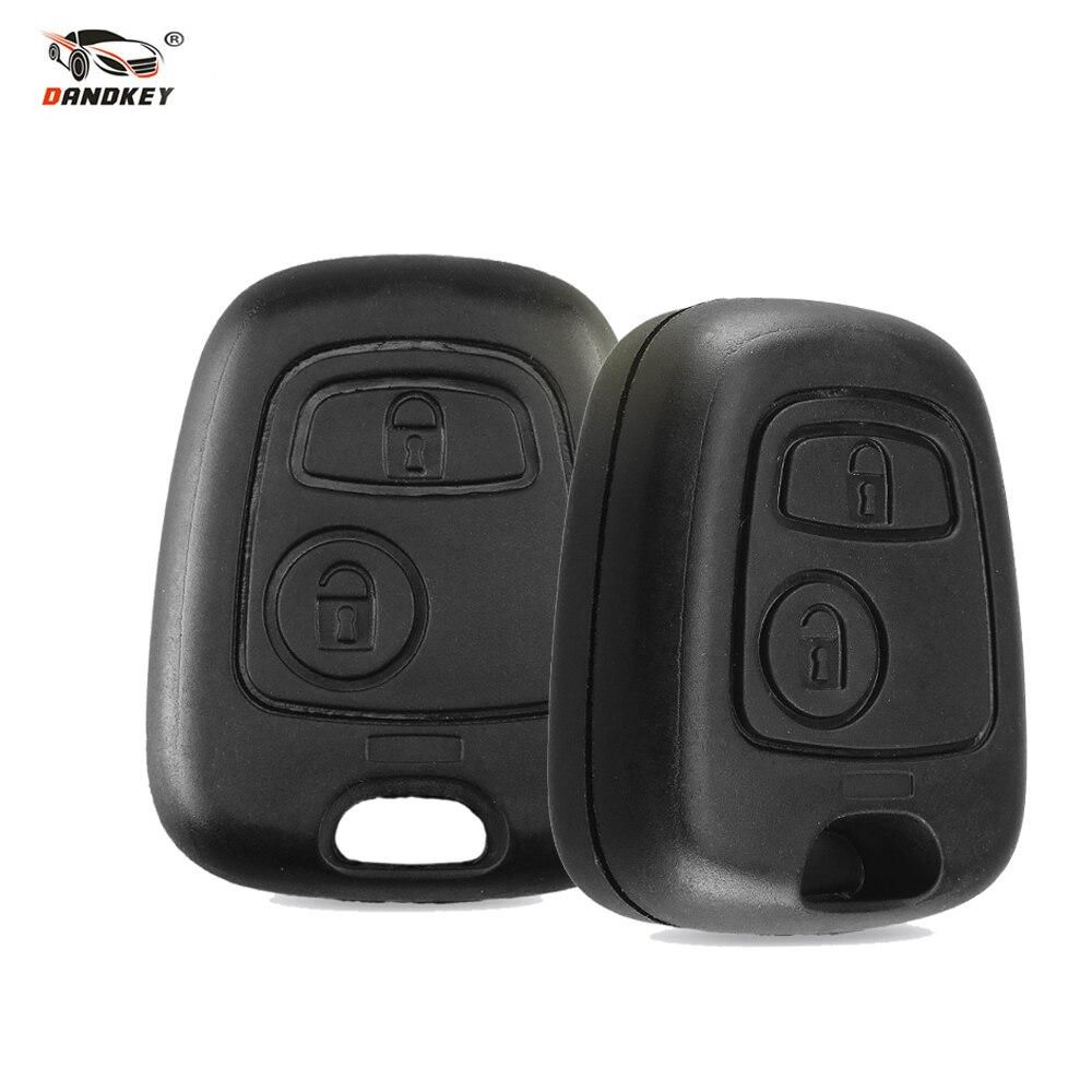 Dandkey 2 botones sin hoja funda para mando a distancia del coche Shell Fob para Citroen C1 C2 C3 Pluriel C4 C5 C8 Xsara Picasso cubierta con logotipo