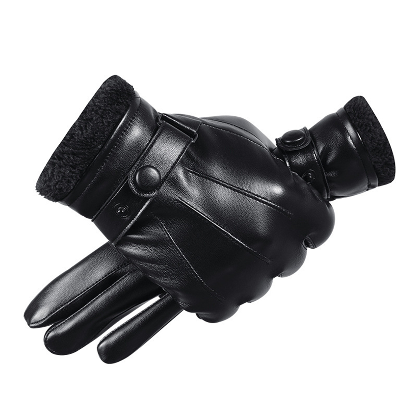 Touchscreen Men Gloves PU Leather Spring Fall Winter Warm Gloves Waterproof Windproof High Quality Business Style Black Gloves
