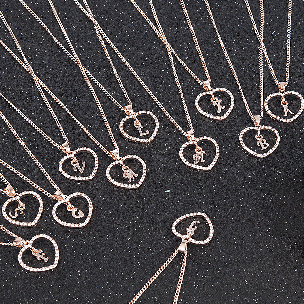 Pendant Necklace Charms Gold Collars Rhinestone Initial Letter Trendy Girls Romantic Love