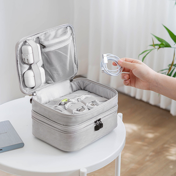 New Travel Digital Storage Bags Organizer USB Gear Cables Wires Charger Power Battery Zipper Cosmetic Bag Case Accessories Item 1