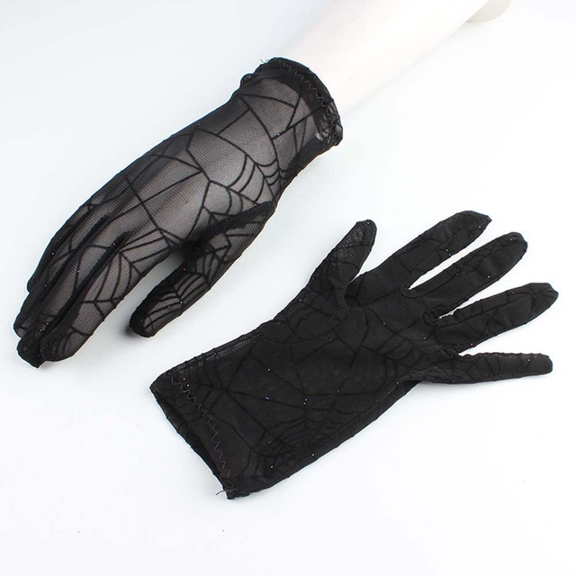 Fashion Women Gloves Sexy Summer Female Full Finger Short Lace Gloves Women Driving Spider Web Pattern Sun Anti-UV Black Gloves 6