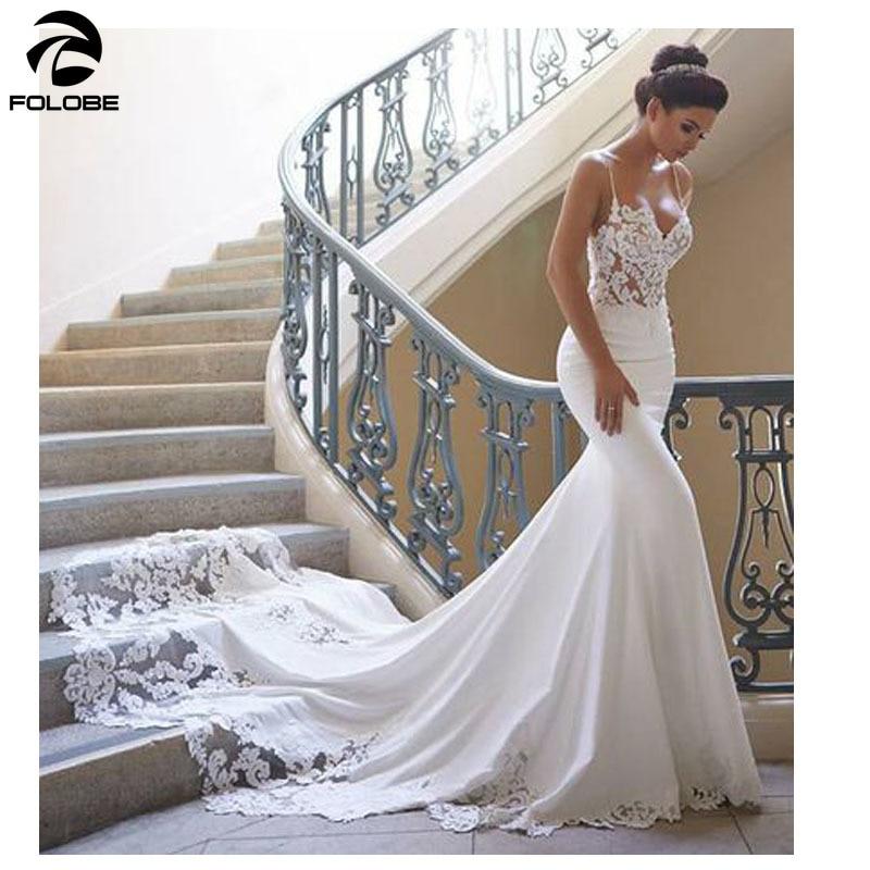 FOLOBE sirena encaje vestido de novia mangas 2019 Vestidos de novia Vintage de encaje vestido de novia encantador Vestidos de novia sin espalda