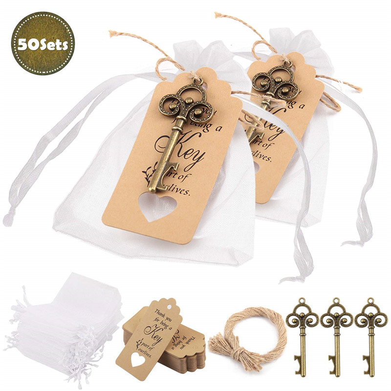 50 Pcs/Set Key Bottle Opener Wine Opener Wedding Gifts For Guests Wedding Party Favors Souvenir Gifts