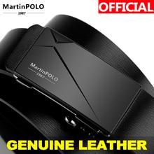 Martinpolo男性の自動本革ビジネスベルト男性のための歯のないベルト合金バックル牛革ストラップ男性MP01301P
