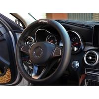 For Kia Stonic Car Carbon Fiber Leather Steering Wheel Covers Cap Steering Wheel Cover Auto Car Interior Accessories