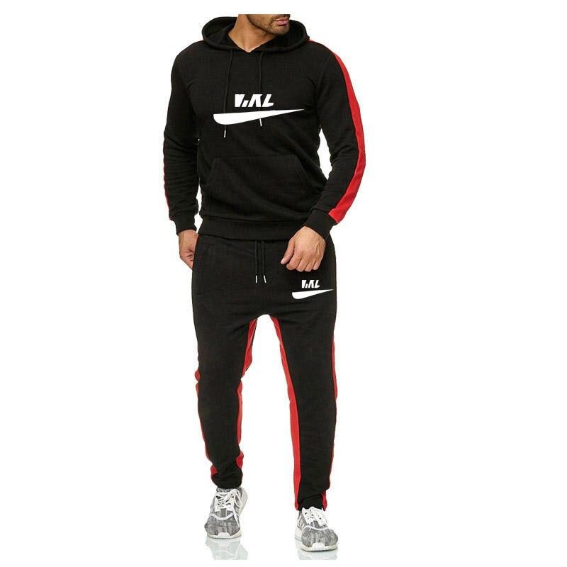 Young Men's Cotton Business Leisure Sports Suit Hoodie Student Sports Suit Running Suit 2-piece Leisure Suit