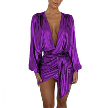Sexy Long Sleeve Mini Dress Women Deep V Neck Ruched Nightclub Going Out Metallic Wrap Dress Asymmetrical Short Party Dresses ruched bishop sleeve surplice wrap checkered dress