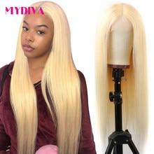 Парики из человеческих волос средней части без клея 613 блонд с фронтальным кружевом, бразильские прямые парики из кружевных частей, предвар...
