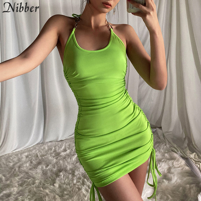 NIBBER 2020 summer club vacation birthday party night sling dress women sexy fashion solid color skinny kawaii mini wrap dress 4