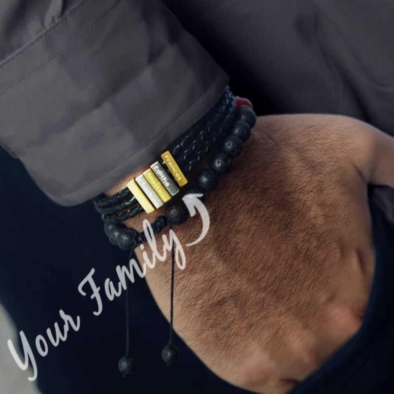 선물 팔찌 패션 꼰 로프 3D 바 이름 팔찌 남자 친구 남편 형제 선물 팔찌
