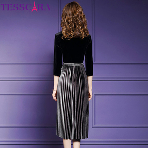 Image 5 - Tesscara Vrouwen Elegante Kralen Fluwelen Jurk Festa Vrouwelijke Event Party Gewaad Hoge Kwaliteit Designer Geplooide Vestidos Plus Size M 4XL