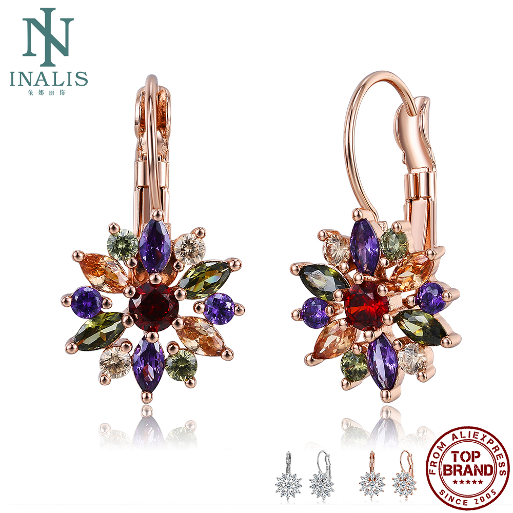 INALIS 3 Colors Luxury Gold Color Flower Stud Earrings With Cubic Zirconia Women Birthday Gift Earring Fashion Jewelry Hot Sale