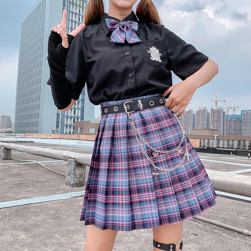QRWR New Summer Women Skirts 2021 High Waist Girl's Pleated Skirt Korean Japanese Style Ladies Sweet Plaid Mini Skirts for Women 3