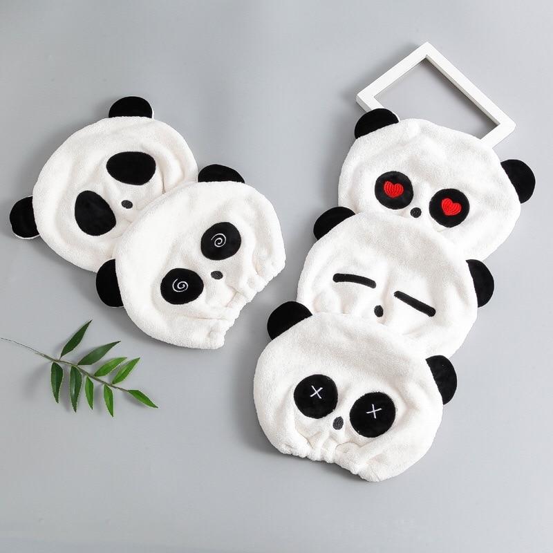 Cute Cute Panda Hooded Shower Cap Coral Velvet Dry Hair Towel Creative Cartoon Dry Hair Cap Panda Shower Cap Can Not Lose Hair