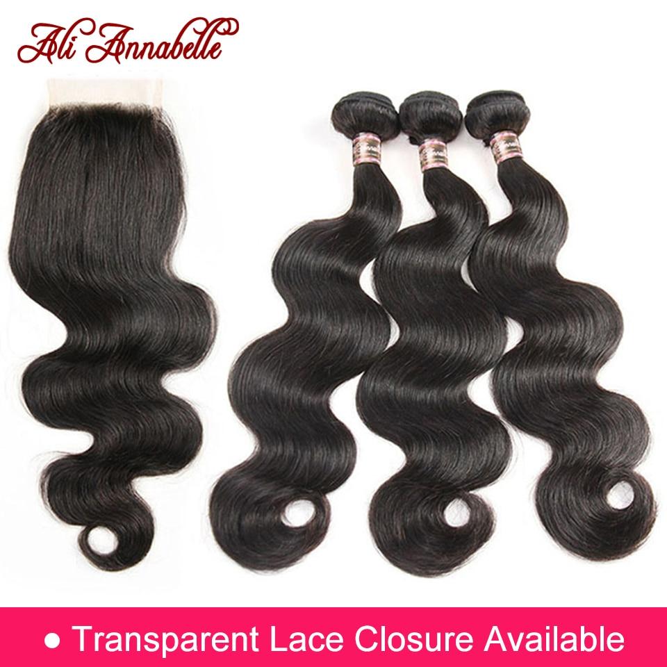 ALI ANNABELLE HAIR Brazilian Body Wave Remy Human Hair Bundles With Closure Brazilian Human Hair Weave Bundles With Closure