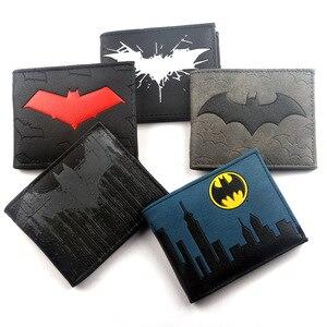 Batman Wallet Cartoon Comics Symbol Bi-Fold purse id window zip pocket credit card holder(China)