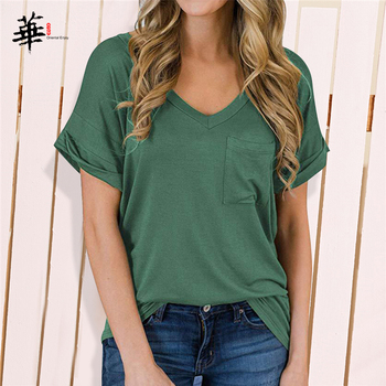 High Quality T-shirt Women Elastic Basic Plain T shirt Women with Pocket Short Sleeve Tops Pure Color Cropped Tee openwork lace splicing striped t shirt with pocket