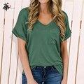 High Quality Tops Basic Plain Shirts for Women Oversized T shirt Top Women Leopard Pocket Plus Size Clothing Woman Tshirts