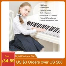 61 teclas de piano eletrônico digital teclado midi saída 128 tons 128 ritmos 14 músicas demo gravação programação reprodução piano teclado musical profissional