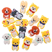 100PCS Wholesale Mix Accessories Carfts Animal Silicone Soft PVC Flat Back Dog Cartoon Components For DIY Jewelry Shoes Charms(China)