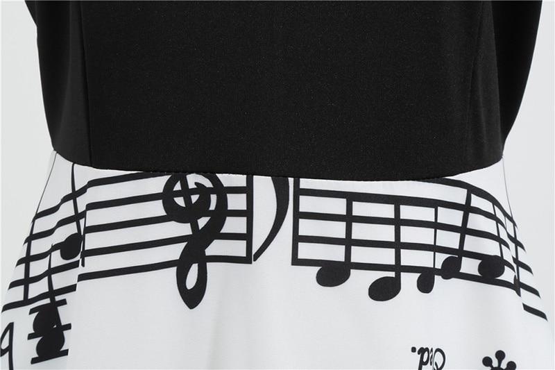 Women Long Sleeve Winter Vintage Dresses Sexy Black Music Note Print V-neck Rockabilly Pin up Party Dress Vestidos Plus size 512
