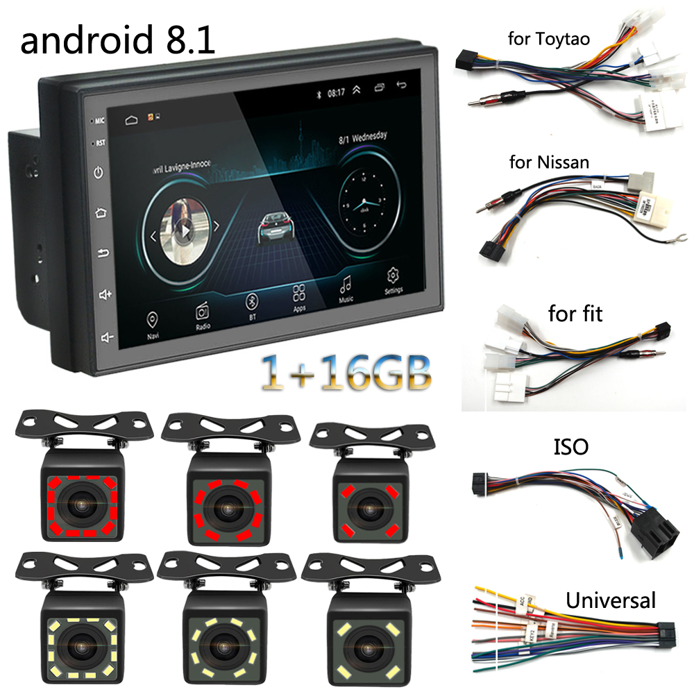2 Din Auto Car Radio Stereo AutoRadio MP3 4 MP5 Video Multimedia Player 7 inch Monitor with Bluetooth Rear View Camera image
