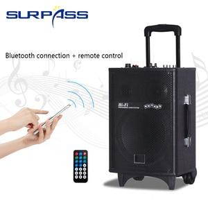 Image 1 - Karaoke Portable Bluetooth Trolley Speaker Rechargable Audio Sound Box Amplifier Outdoor Music Column Center 10inch