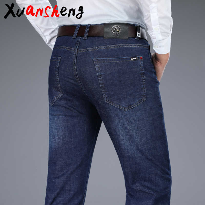 XuanSheng blue black men's jeans 2019 Brand new stretch straight dark thick business casual long pants classic streetwear jeans