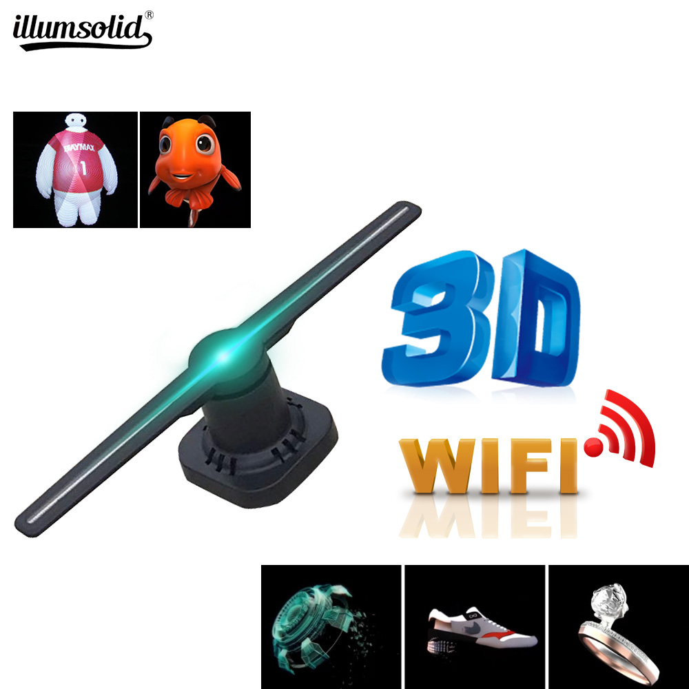 Wifi 3D Hologram Projector Fan LED Holographic Imaging Lamp Player 3D Remote Advertising Display Projector Light