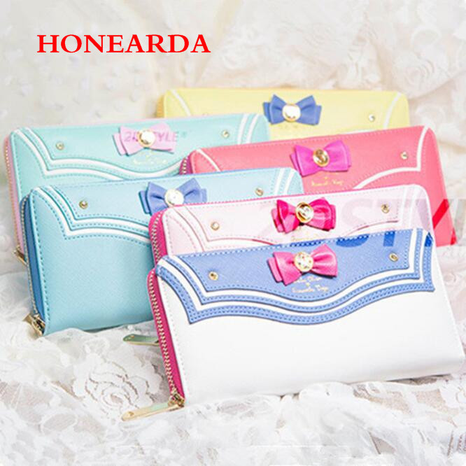 Wholesale Wallet Sailor Moon Ladies Long Female Purse Women Wallet Leather Bag 200PCS/lot