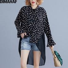 DIMANAF Plus Size Women Blouse Shirts Long Sleeve Autumn Elegant Lady Tops Tunic Loose Spliced Polka Dot Female Clothes 2019 New plus size long sleeve lace spliced crochet blouse