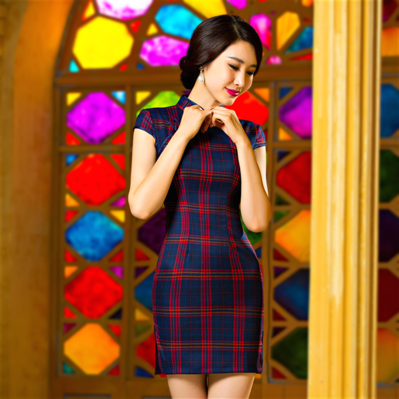 Sheng Coco Mini Cheongsam Summer Red Plaid Qipao Retro Clothing Cotton Lattice Short Cheongsam Woman Chinese Dress