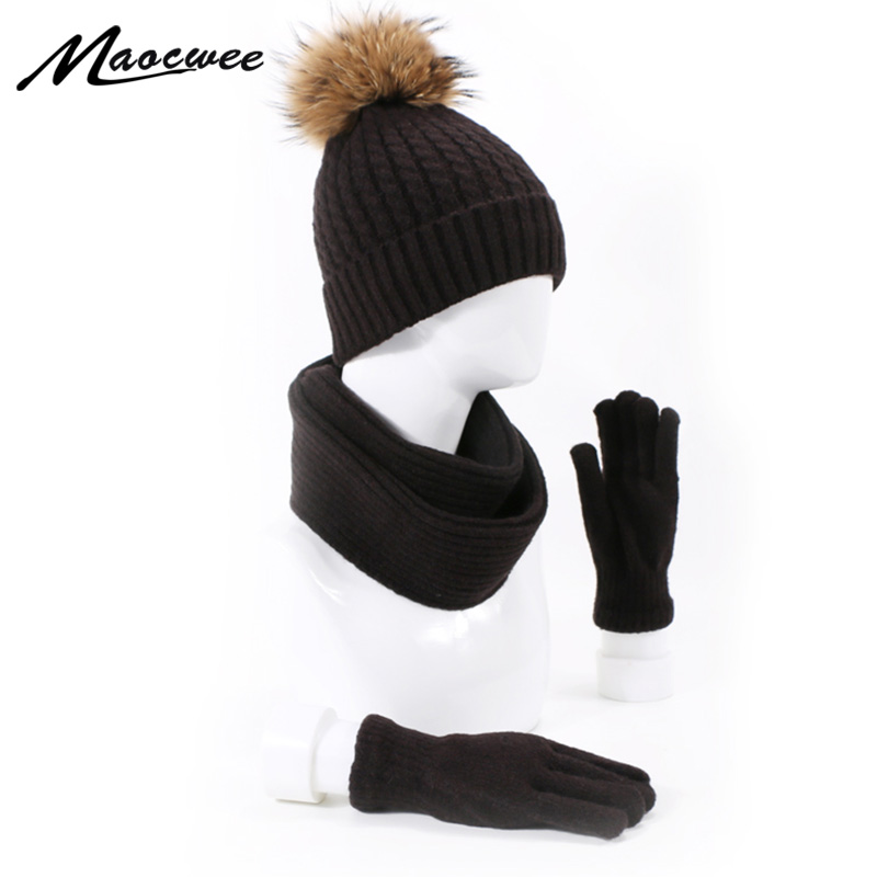 Fashion Real Fur Pompon Hat Scarf Glove Sets For Men And Women Winter Knit Caps With Lining Cotton Thick Warm Outdoor Ski Hats