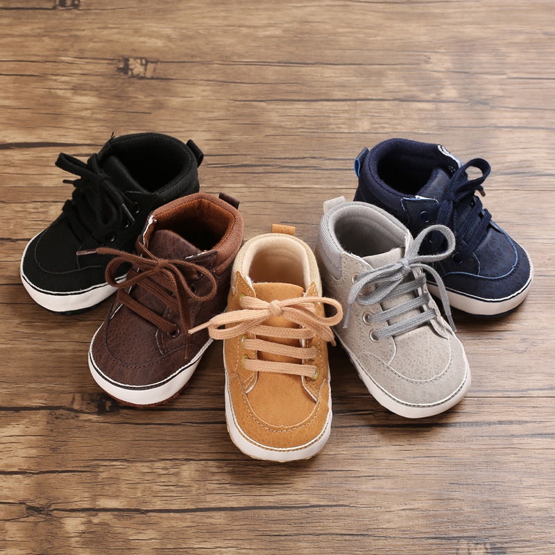 Newborn Baby Boy Shoes Crib Toddler Infant Gray Leather Sport Lace-up Soft Sole Anti-slip 0-18 Months First Walker High Boots